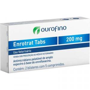 Antibiótico Enrotrat Tabs Display Ourofino - 200mg - C/10
