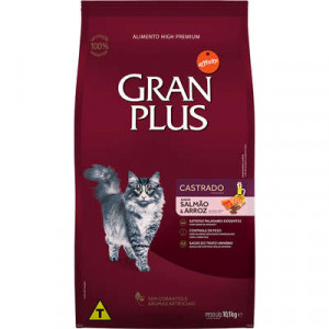Gran Plus Gatos Adultos Castrado Salmão e Arroz - 10,1kg