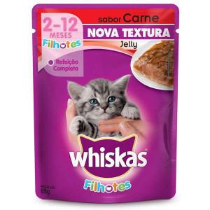 Whiskas Sachê Jelly Carne para Gatos Filhotes - 85g