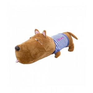 Cachorro Focinho Largo De Camisa Azul 56cm - Pelúcia