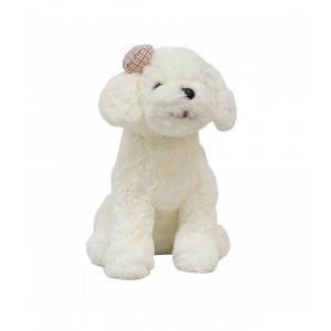 Cachorro Branco Sentado Laço 28cm - Pelúcia