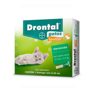 Drontal para Gatos - 0,5kg a 2,5kg Vermífugo Spot On
