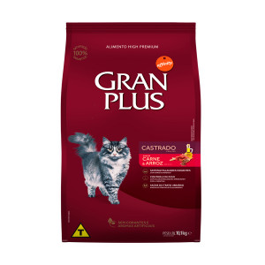 Gran Plus Gatos Adultos Castrado Carne e Arroz - 10,1kg