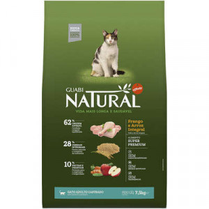 Guabi Natural Gatos Adultos Castrados Frango e Arroz Integral - 500g/1,5kg/7,5kg