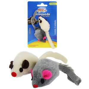 Brinquedo Rato de Pelúcia para Gatos 11x3cm - 2 un