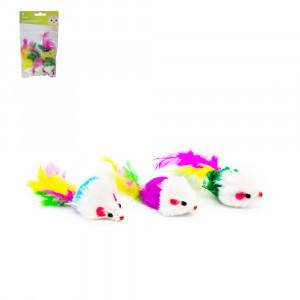 Brinquedo Ratos de Poliéster com Penas e Catnip para Gatos